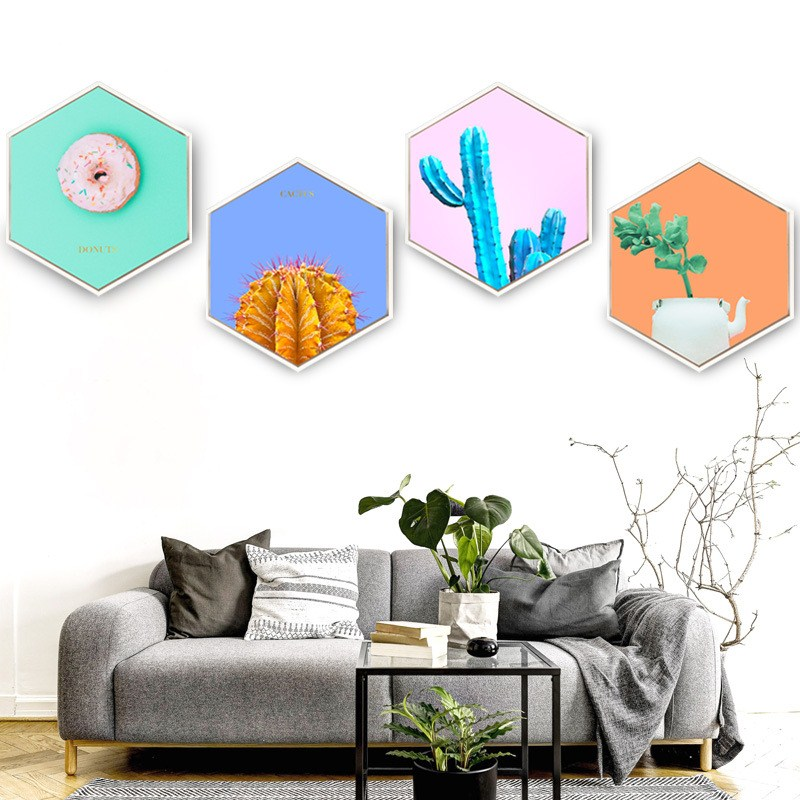 Decorative paintings hexagon Creativity Wall Nordic style maiden green plant leaves Sofa background wall Hanging