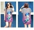 Minnie mouse summer 2016 Mujeres de La Manera Vestidos de manga corta Vestido de Tallas grandes Loose Novedad Imprimir ocasional de la historieta