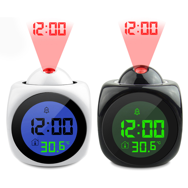 Colorful LED Display Modern Projection Led Clock Electronic Desktop Alarm Clock Digital Table Clocks Snooze Function Cables