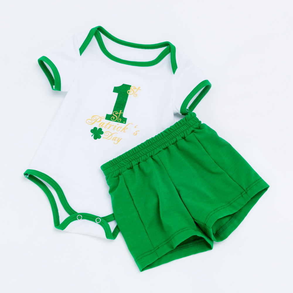 YK&Loving Summer boy baby green clothing set Number 1 Saint Patrick's Day 0-2 year baby short sleeve Bodysuit rompers infant kid
