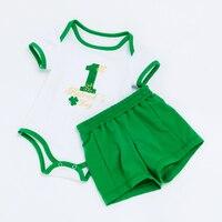 YK Loving Summer Boy Baby Green Clothing Set Number 1 Saint Patrick S Day 0 2