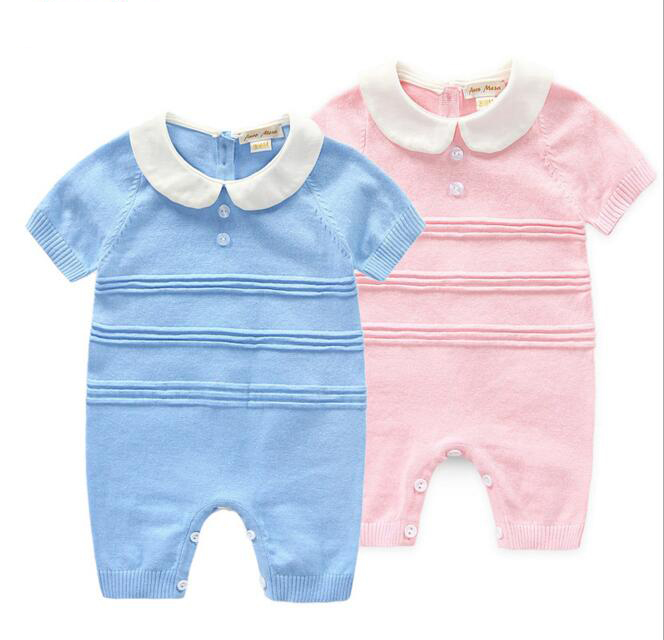 2016 Spring Newest Newborn Baby Knitted Rompers Children Short Sleeve Cotton One-Piece Jumpsuits Clothes Kids Rompers Clothing newest 2016 summer baby rompers clothing short sleeve 100