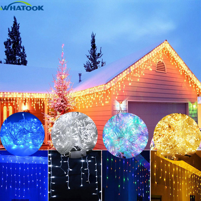 RGB LED Curtains Icicle String Lights 220V Christmas Decorations 5M 100  Leds For Garland Home Outdoor