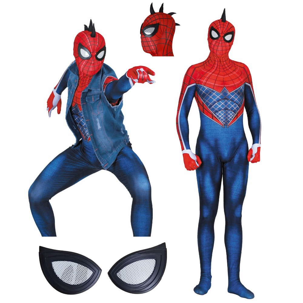 punk Spiderman Cosplay spider 3D Printed Kids/Adult Lycra Game PS4 Spandex Spider-man Costume For Halloween Cosplay Zentai Suit image
