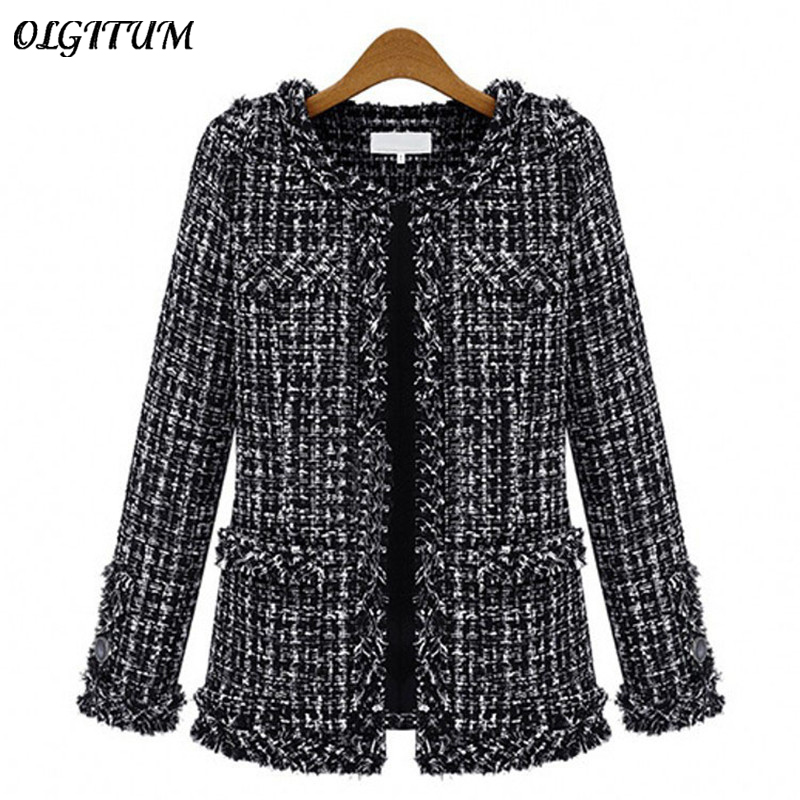 Hot! Women Jacket Autumn winter Slim thin checkered Tweed coat Large size casual O-Neck Plaid Jacket with pocket loose outwear