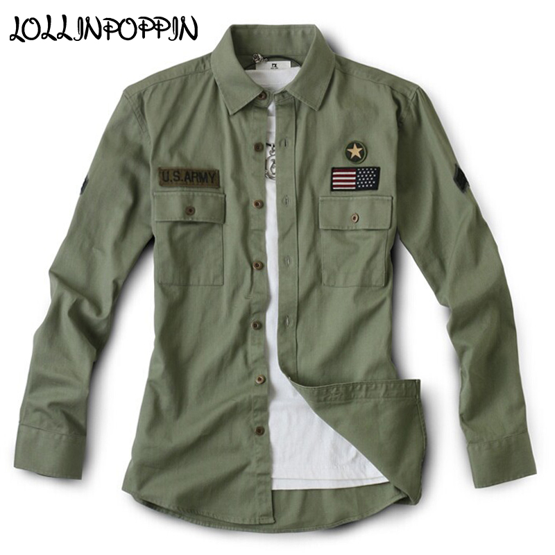 Military Style Men Army Green Casual Shirts 100% Cotton Mens Army Shirt With Chest Flap Pockets Star & FLag Badges Long  Sleeves