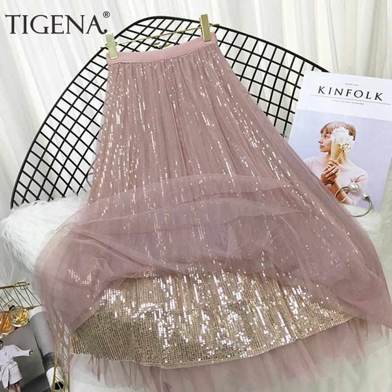 TIGENA 4 Layers Fashion Sequin Tulle Skirt Women 2019 Spring Summer Korean Long Maxi Skirt Female High Waist Pleated Skirt Pink