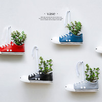 Handmade ceramic shoes flower pot personalized ceramic vases wall hanging ornaments creative home decoration crafts furnishings