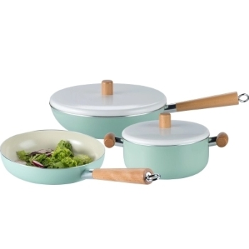 Northern Europ enamel wood handle pan soup pot saucepan thickened noodle general home induction Japanese cooker stew manual set