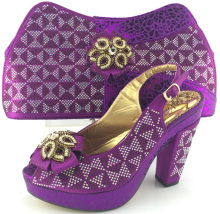 ME3332 Purple Color African font b Women b font Shoes And Bags Set Italian Shoes And