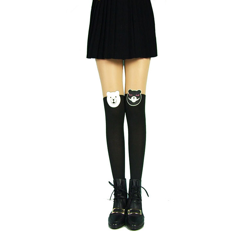 Princess sweet lolita pantyhose for height 150-168cm Japanese despair hope the asymmetry of black and white bear pantyhose LKW42