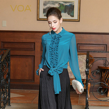 VOA 2017 Autumn Cyan Blue Long Sleeve Belt Ruffle Blouse Women Silk Tops Plus Size Casual Solid Slim Business Shirt BSH01201 цена 2017