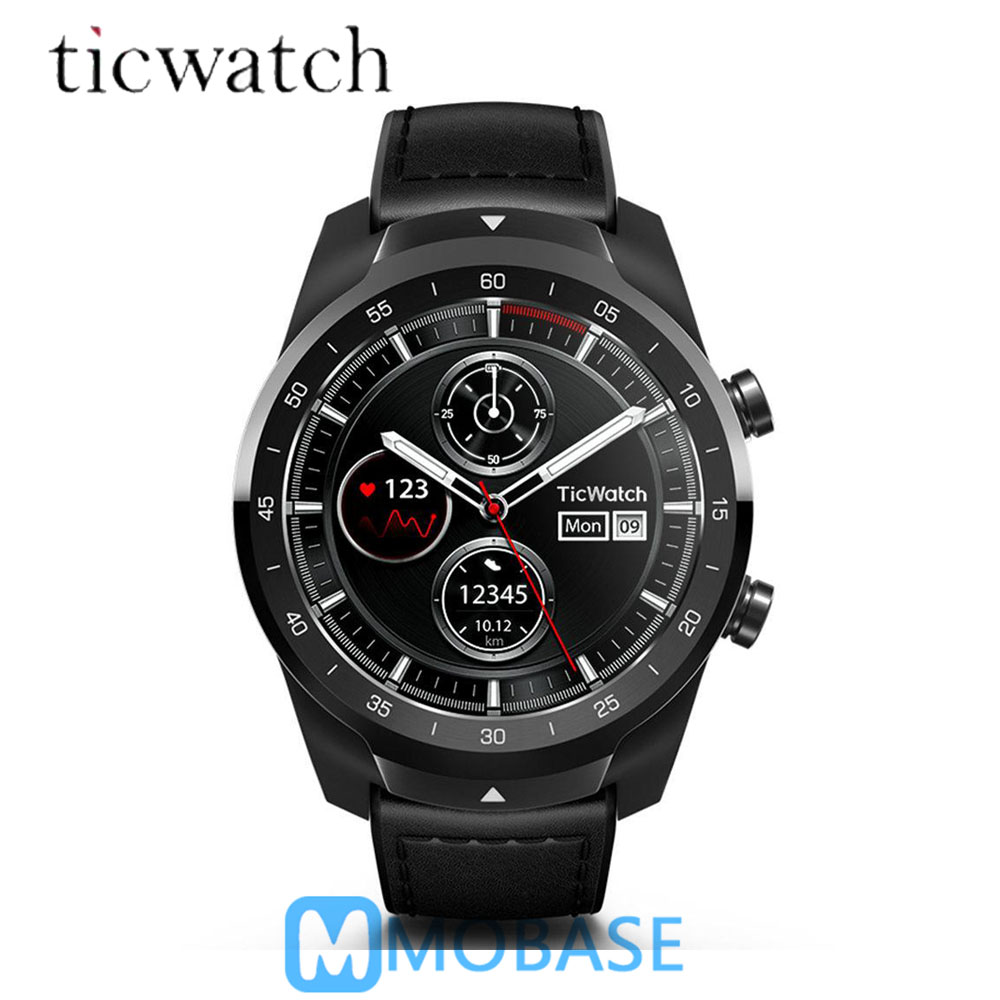 $5 COUPON Ticwatch Pro Bluetooth montre connectée IP68 Couches support D'affichage Paiements NFC/Google Assistant Porter OS par Google 415 mAH