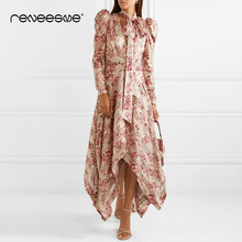 2019 new women dress fashion style long sleeve bow tie neck asymmetrical print ladies dresses vintage ankle-length maxi vestidos купить недорого в Москве