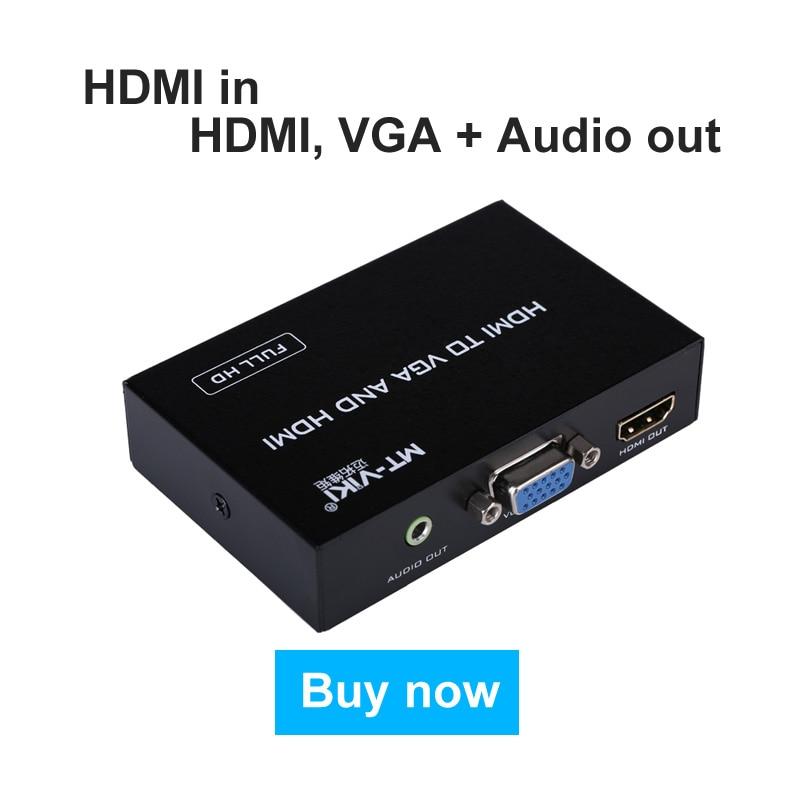 MT-Viki HDMI to VGA + Audio + HDMI Converter Splitter High Resolution FHD Adapter Metal Case 80 channels hdmi to dvb t modulator hdmi extender over coaxial