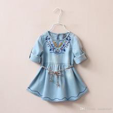 Christmas New Kids Girls Floral Embroidery Denim Dress Ruffles with Belts Fall Winter Party Dress 5pcs/lot Wholesale