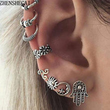 2017 Panjang Anting Mode Sliver warna Vintage Punk Telinga klip Sederhana Rumbai Perhiasan boucle d'oreille Grosir e0262(China)