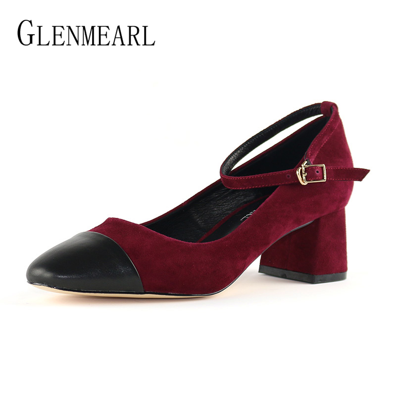 High Heels Pumps Women Shoes Natural Suede Leather Brand Thick Heel Dress Shoes Woman Spring Round Toe Ankle Strap Pumps BlackDO leather pumps women 2017 high heels shoes woman genuine leather closed toe thick heel fretwork handmade cool women s shoes