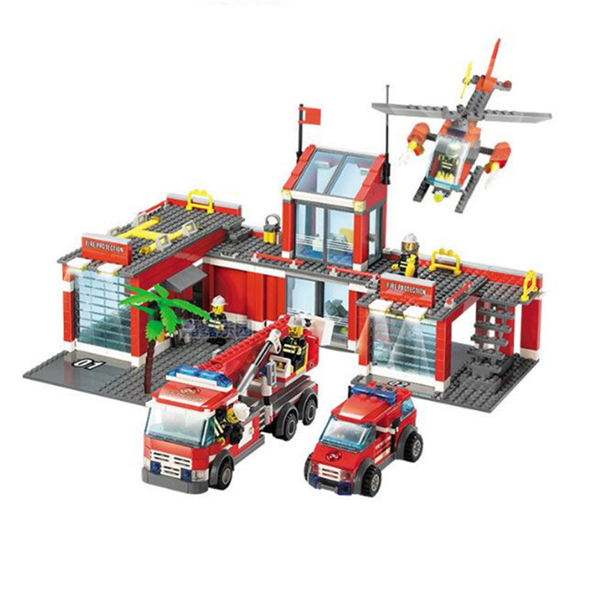 774pcs Brand Compatible City Fire Station Building Blocks Toy Educational Brick Firefighter Truck Toys Kids Birthday Gift kazi fire department station fire truck helicopter building blocks toy bricks model brinquedos toys for kids 6 ages 774pcs 8051