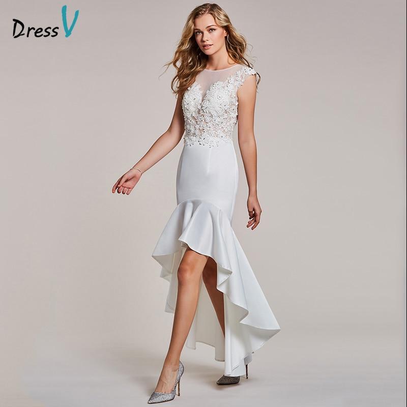 Dressv white evening dress cheap scoop neck trumpet sleeveless appliques wedding party formal mermaid beading evening dresses