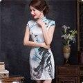 2016 Summer Cheongsam Chinese Traditional Dress Women Elegant Wedding Dress Double Layer Silk Slim Short Qipao Evening Cheongsam