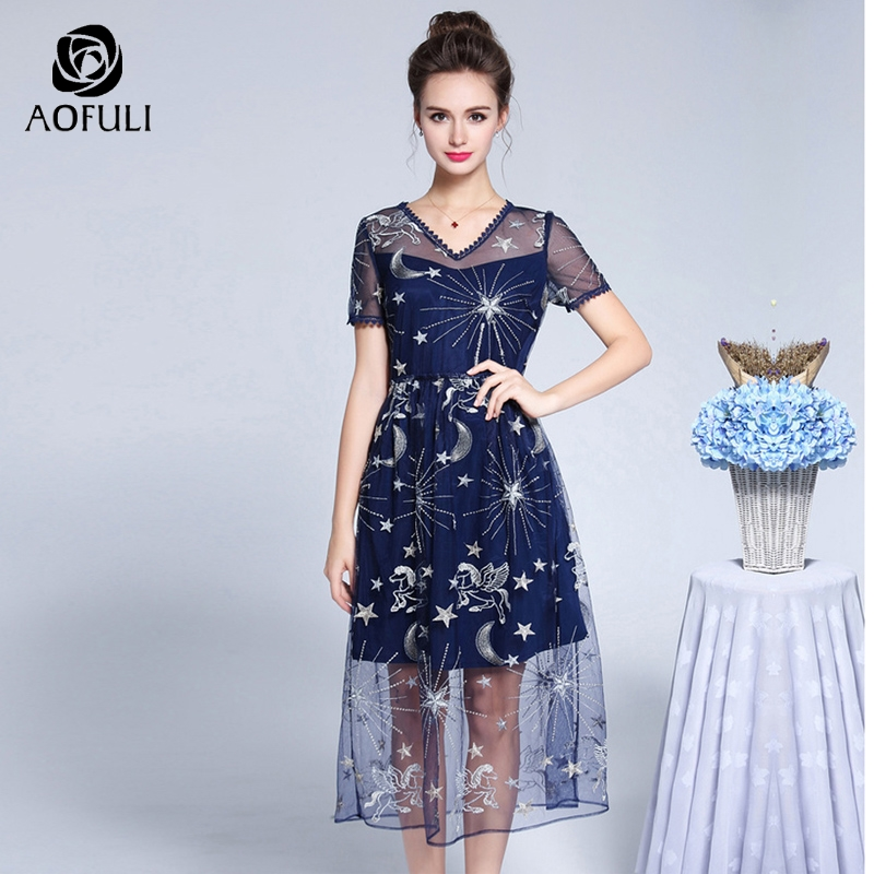 AOFULI L XXXL 4XL 5XL Elegant Galaxy Embroidered Tulle Dress Plus Size Long Party Dress Short