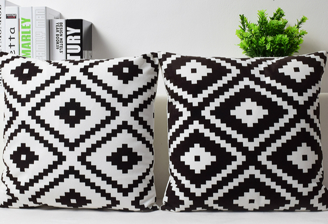 Sofa Cushion Covers Black: Plain Geometric Velvet Cushion Cover Black White Geometric Pattern    ,