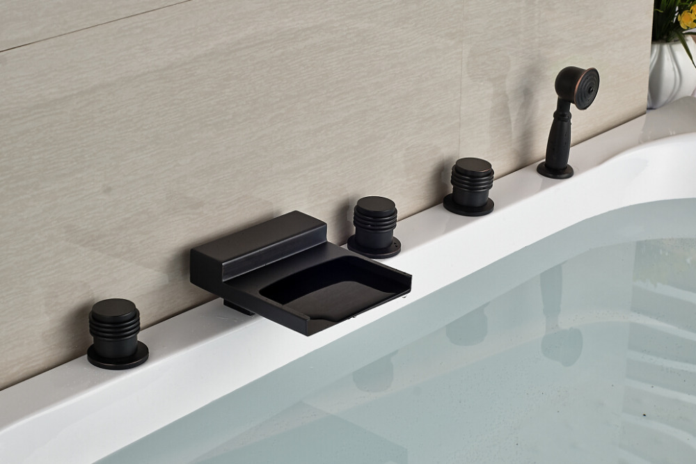 Waterfall Spout 5pcs Bathtub Faucet with Hand Shower Oil Rubbed Bronze