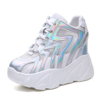 Women High Platform Shoes 2019 Summer Breathable Mesh Shoes Women Height Increasing Pumps 10 CM Thick Sole Trainers White Shoes