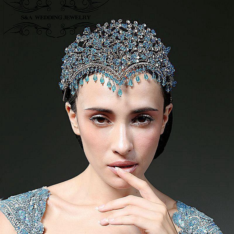 Luxury Vintage Wedding Crown Alloy Bridal Tiara Baroque Queen King Crown water drop tiara Fashion show crown Miss world headband crown decorated headband
