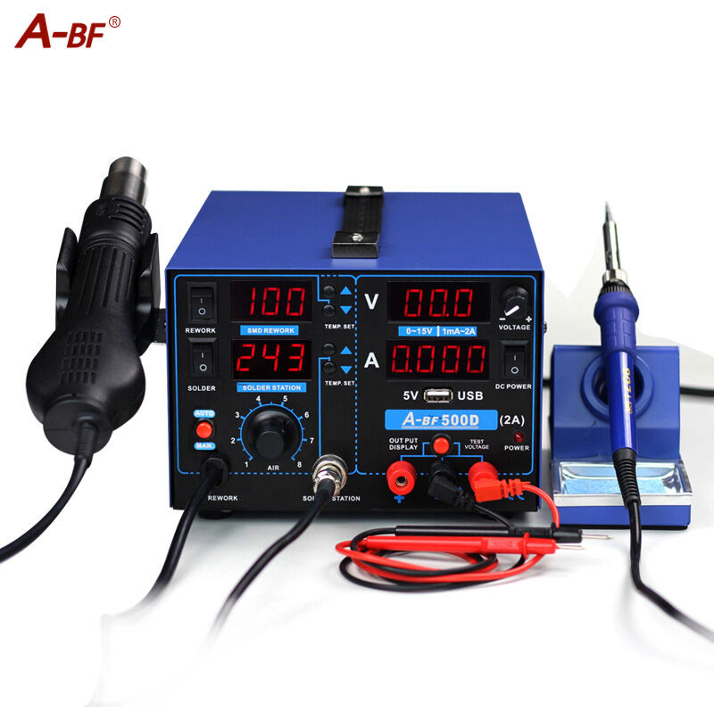 3-IN-1 Rework Station A-BF 500D soldering iron station hot air gun station power supply for mobile repair test digital display a bf 203h 220v 90w soldering station digital display soldering iron station diy auto sleep high frequency iron thermostat
