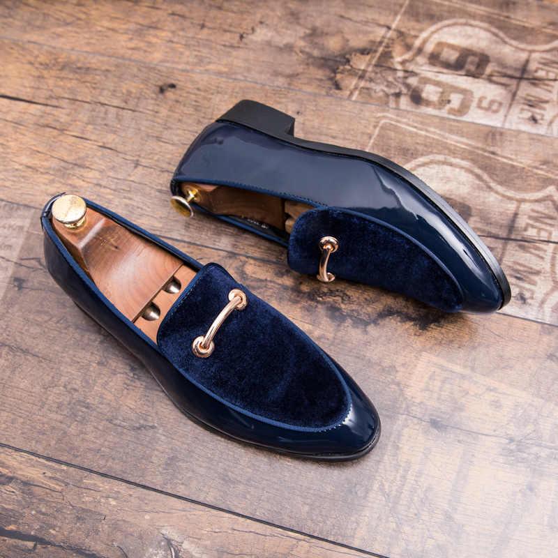 Ayakkabı erkek mokasen ayakkabıları Moccasins parti ayakkabıları Rahat bağcıksız ayakkabı Mavi Patent Deri Mavi Süet Loafer'lar Erkekler Artı Büyük Boy Loafer'lar