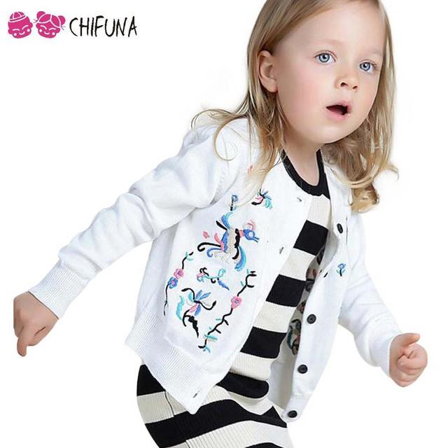 Calientes de Los Nuevos Niños Ropa de Bebé Muchachas de Los Cabritos Marca de Ropa de Primavera Chaqueta de Punto de Algodón Bordado de Punto Abrigo Suéter de La Manera
