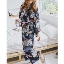 Japanese Spring Autumn Printing Pattern Pajama Set women Rayon Sleepwear Long Sleeve 2 Pcs Pajamas For Women Furnishing wear