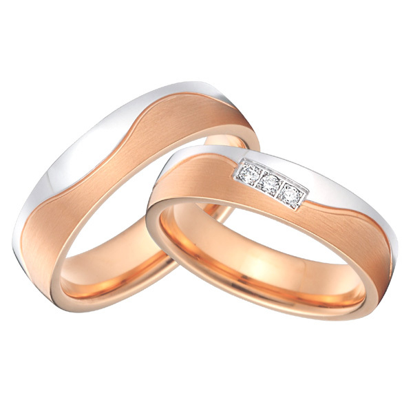 custom alliance anillos rose gold color and silver color titanium wedding rings sets for men and womencustom alliance anillos rose gold color and silver color titanium wedding rings sets for men and women