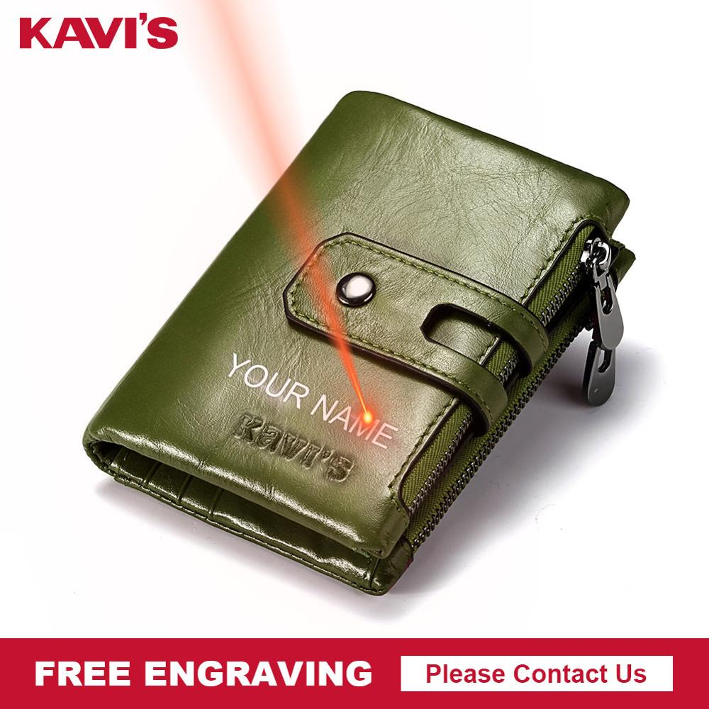 KAVIS Free Engraving Genuine Leather Wallet Men PORTFOLIO Male Cudan Portomonee Perse Coin Purse Pocket Money Bag Name For Gift