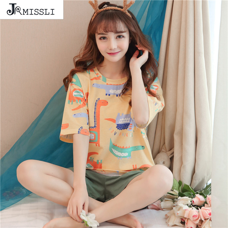 JRMISSLI Summer Women Comfortable   Pajamas     Set   Nightgown Printing Cute Sleepwear Suit Girl 100% Cotton Short Pants Pijama