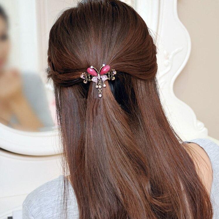 HTB1XFZ7MXXXXXciXpXXq6xXFXXXH Vintage Women Turquoise Butterfly Flower Hair Barrette With Rhinestone Crystals - 5 Colors