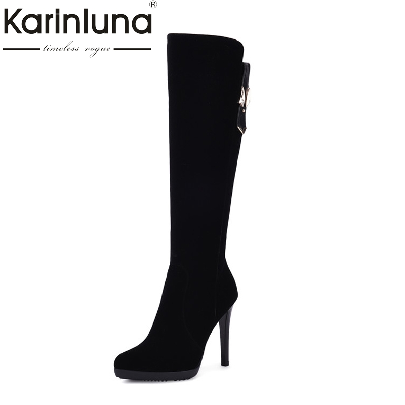 Karinluna Women's Fashion Thin High Heel Knee Boots Sexy Pointed Toe Platform Faux Suede Upper Woman Shoes Size 34-39 new thigh high women faux suede sexy fashion over the knee boots sexy thin high heel boots platform woman shoes black blue 34 43