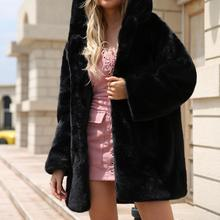 2018 Autumn And Winter European And American Style Fashionable Warm Faux Fur Long Hooded Women's Jacket Fur Coat