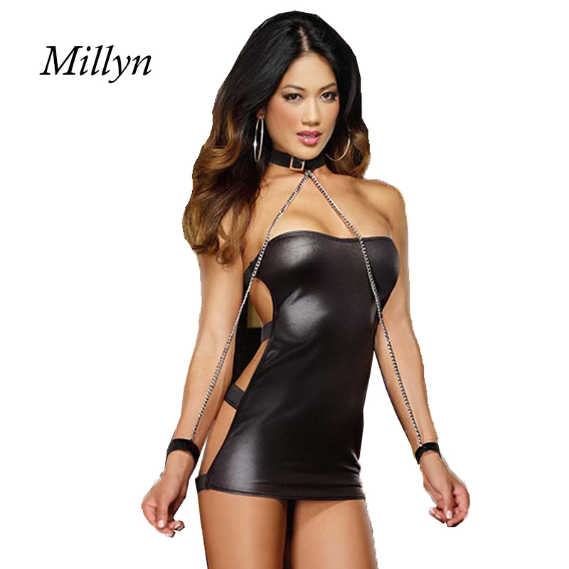 Sexy Women Black Faux Leather Bondage Dress Hollow Out Clubwear Dresses Bodycon Sexy Costumes Game Uniform Women's Costumes