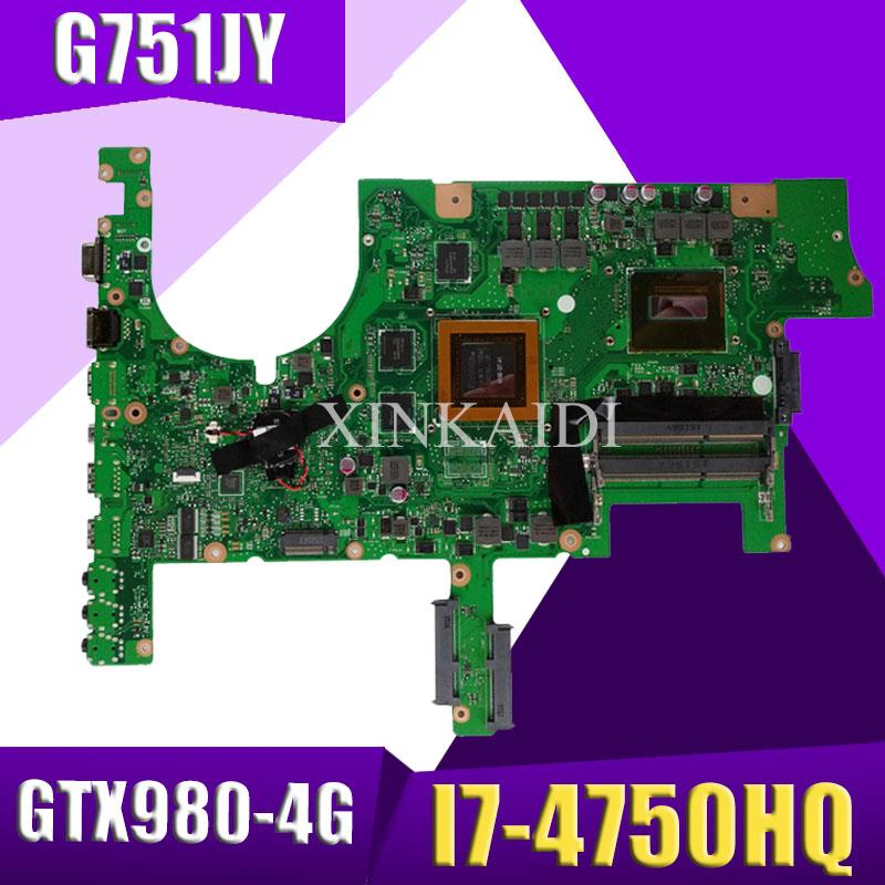 XinKaidi ROG <font><b>G751JY</b></font> Laptop <font><b>motherboard</b></font> for ASUS <font><b>G751JY</b></font> G751JT G751JL G751J G751Tested original mainboard I7-4750HQ GTX980-4GB image