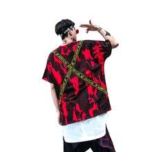 Oversized Men t Shirt Ribbon Camouflage Full Print Harajuku Streetwear Men Tshirt Hip Hop 2019 Summer Swag Punk Tops Tees Male цена