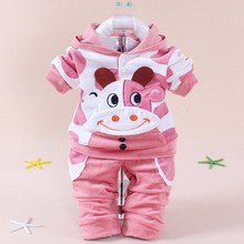 2016 spring and autumn childrens clothing 0-5 year old boy girl / cartoon rabbit design children two pieces sets fashion