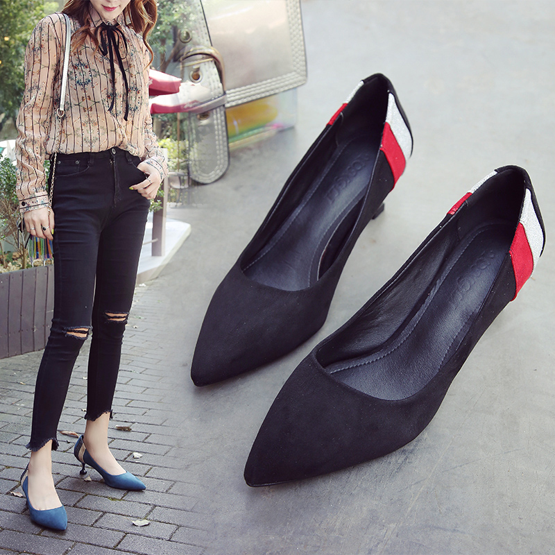 HKJL High heeled women 2019 new spring fall Korean edition thin heel with pointed toe and thin mouth with black sole A274 in Women 39 s Pumps from Shoes