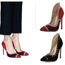 NEW 2017 Women's Shoes Autumn Spring High Heel European Pointed Toe Rivets Elegant Women Party Shoes Ladies Shoe Black/Wine Red