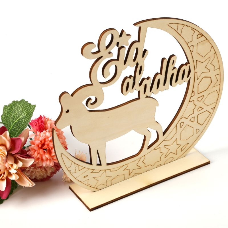 2019 Muslim Islam Eid Al Adha Mubarak Decoration Wooden Home Party Ornament Eid Decor Plaque Sign Gift Desk DIY Art Craft