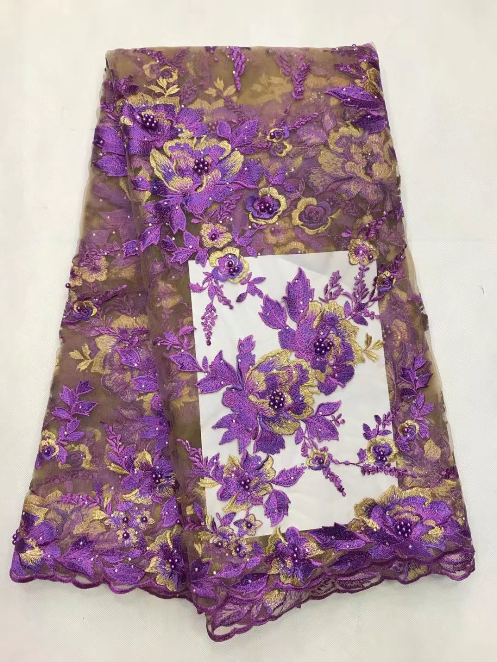 2017 Latest Purple Peony Flower African French Lace Net Fabric High Quality Nigeria Lace Fabrics With