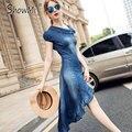ShowMi Women Summer Dress New 2017 Fashion Inclined shoulder Irregular Ruffles Hem Blue Long Demin Dresses