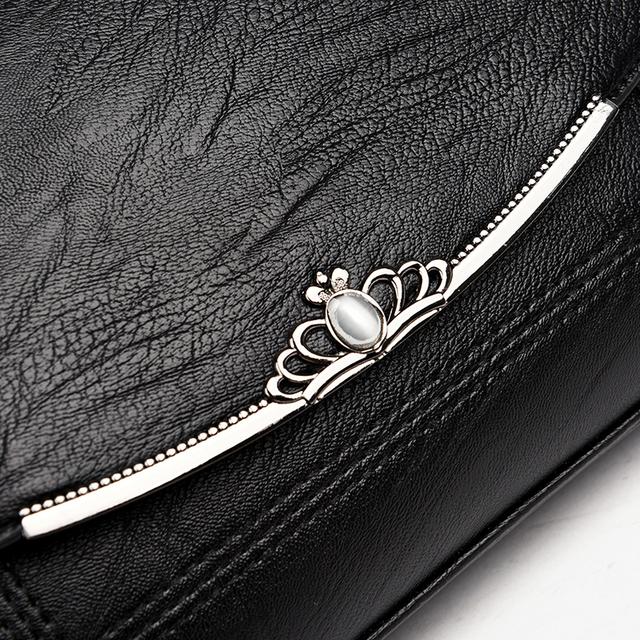 2017 Ladies Crown Hasp Design Women PU Leather Crossbody Messenger Bag Small Sling Shoulder Bags Fold Closure Handbag Purses